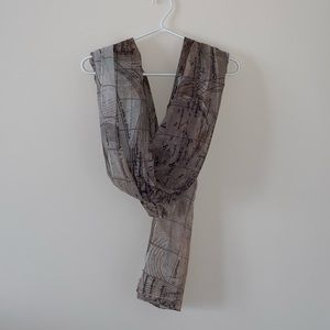Brown scarf with world map print
